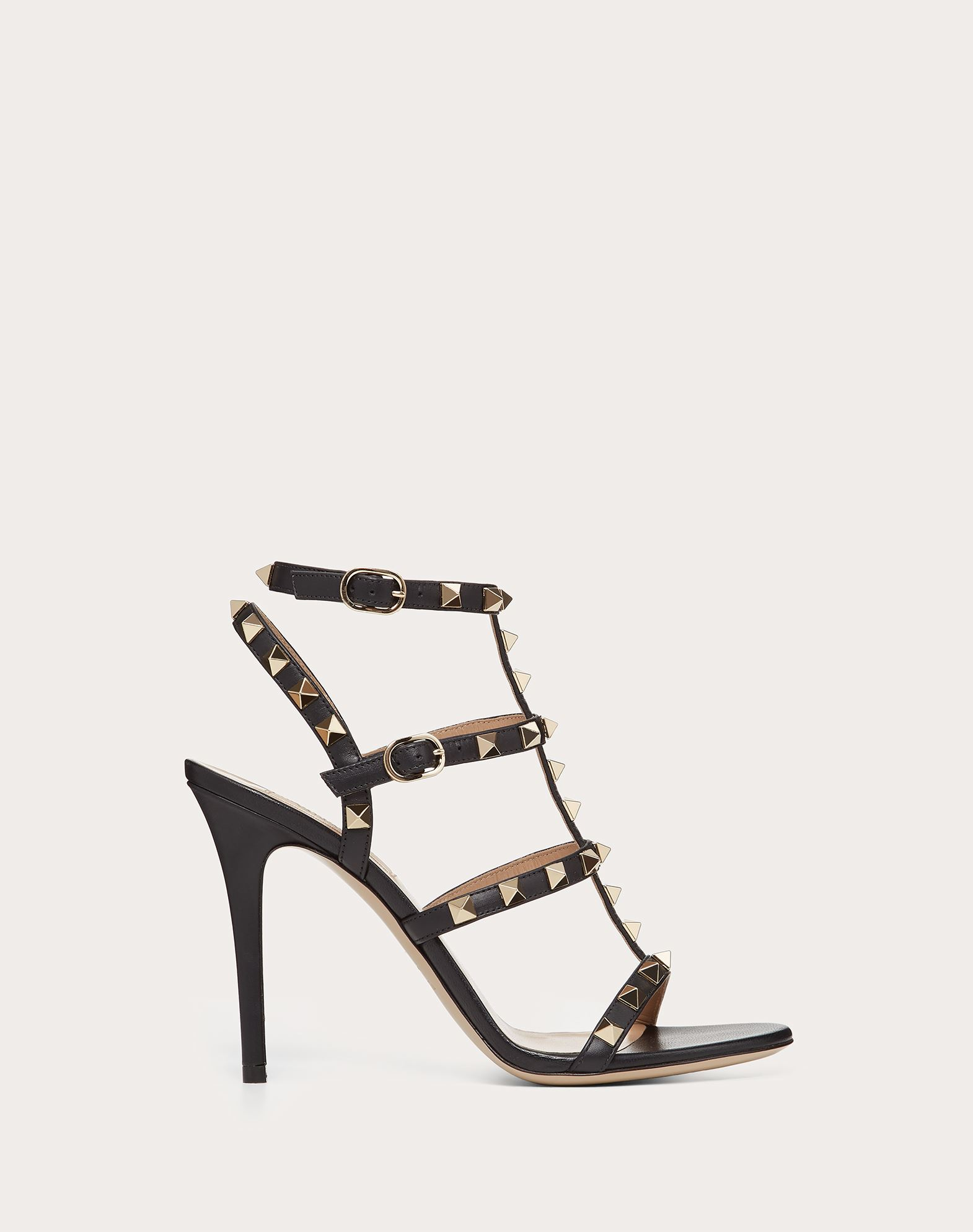 VALENTINO Studs Round toeline Basic solid colour Leather sole Buckle  45381186iu