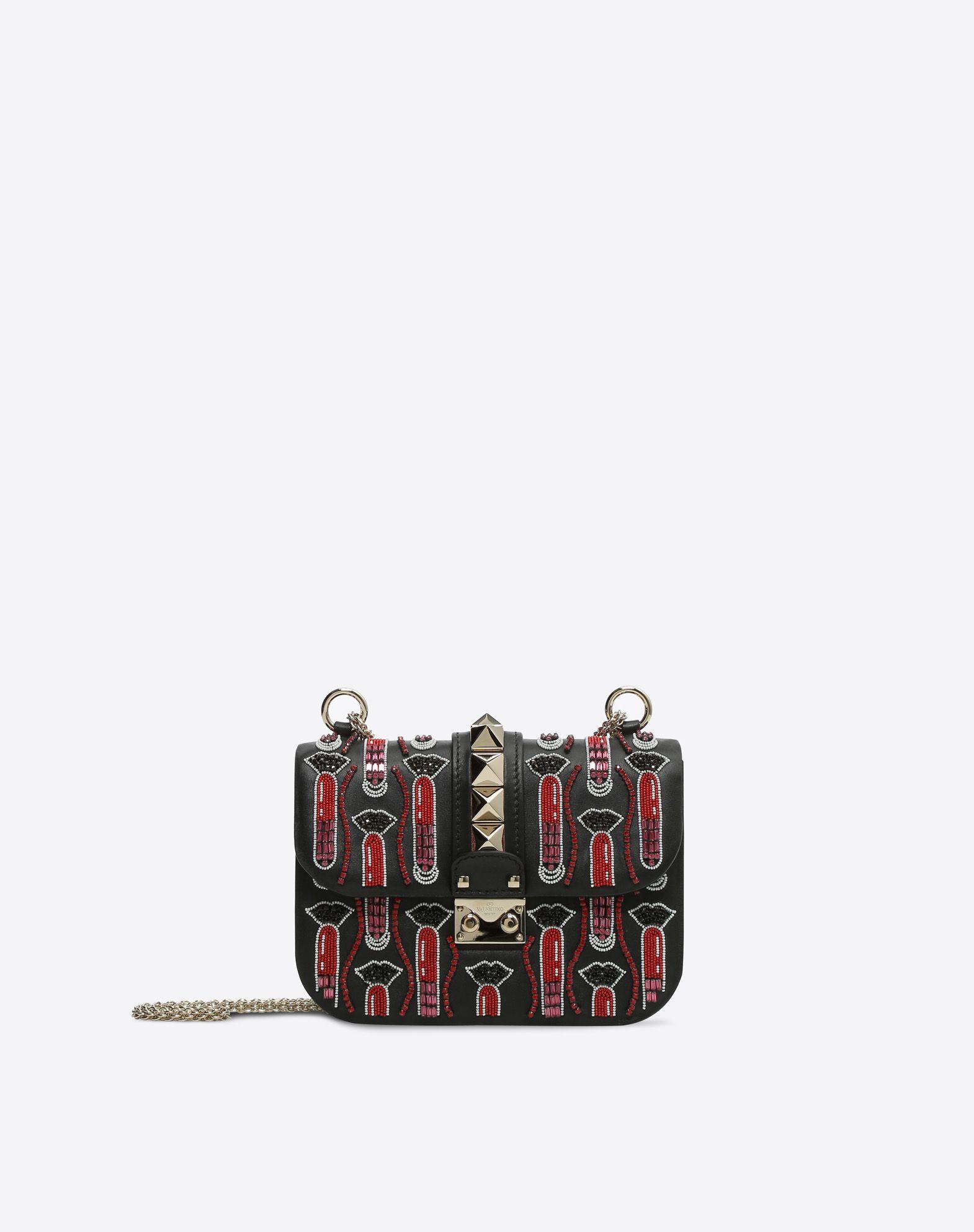 VALENTINO 附品牌标志 水钻 钉珠 锁扣固定 内部拉链口袋  45381218wr