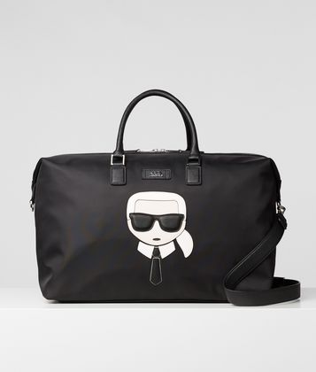 KARL LAGERFELD K/IKONIK NYLON AND LEATHER WEEKENDER