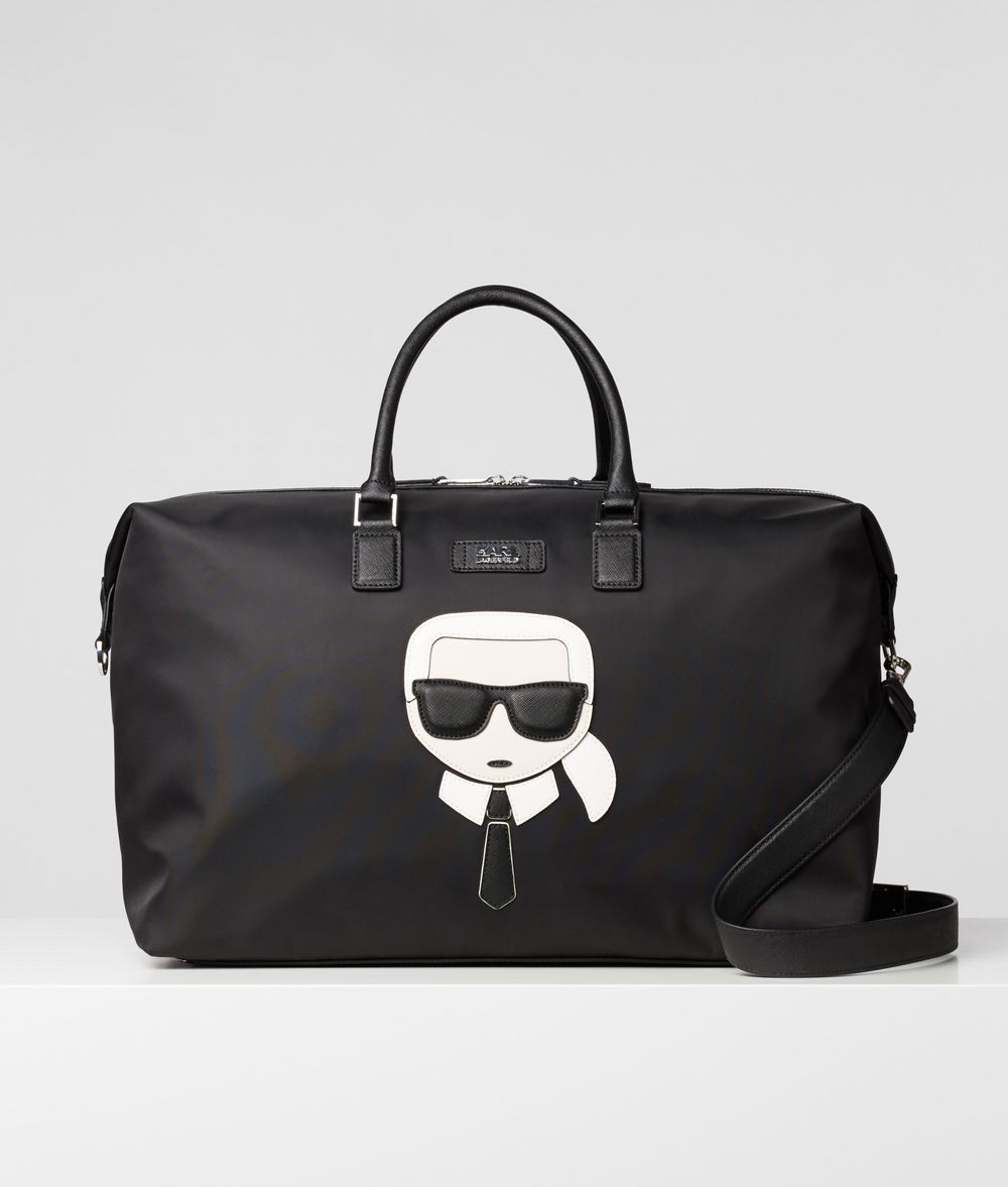 KARL LAGERFELD K/Ikonik Nylon and Leather Weekender Handbag E f