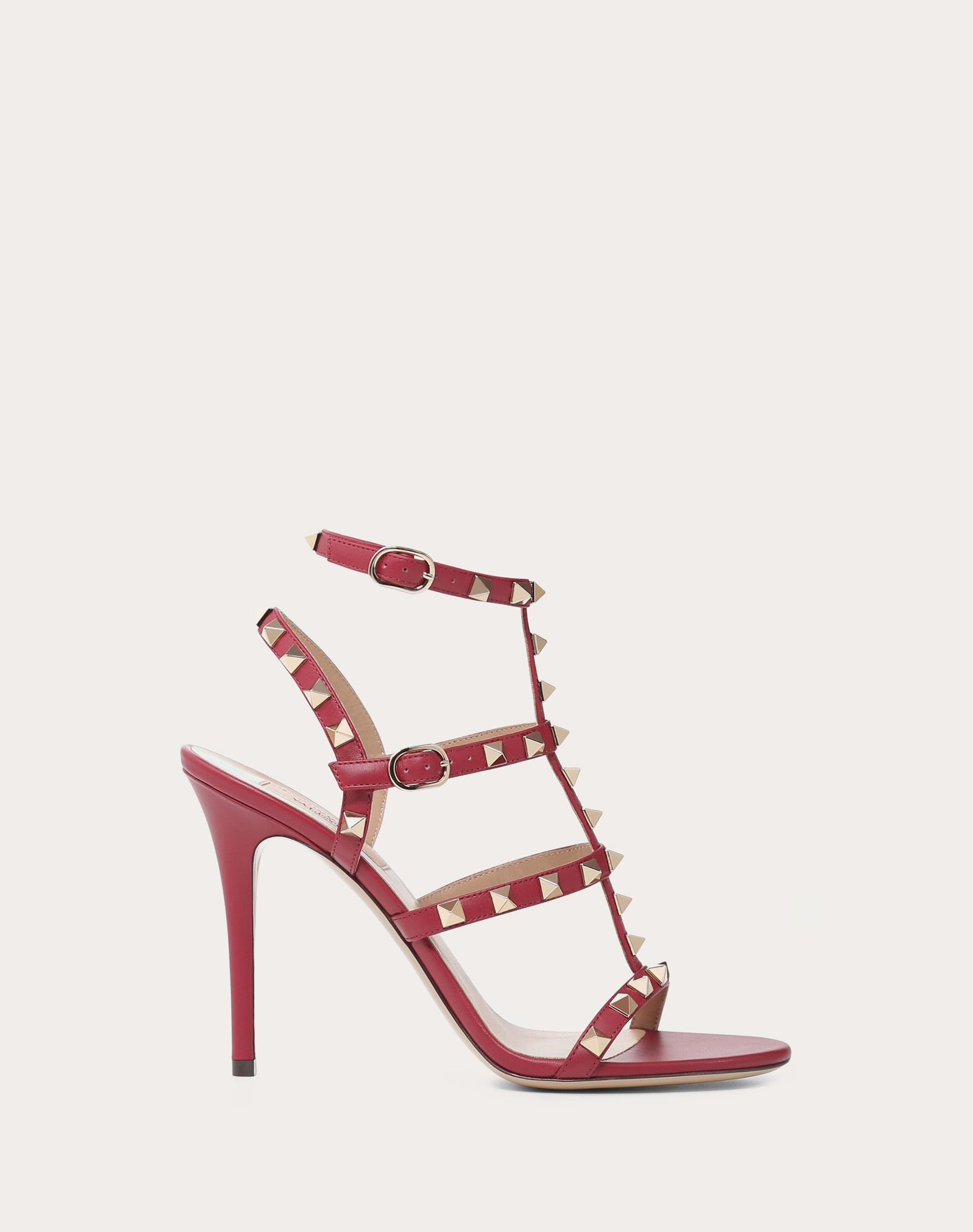 VALENTINO Studs Round toeline Leather lining Leather sole Buckling ankle strap closure Spike heel  45382350le