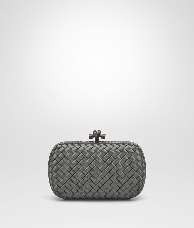 BOTTEGA VENETA LIGHT GREY INTRECCIATO IMPERO CHAIN KNOT Clutch [*** pickupInStoreShipping_info ***] fp