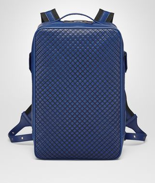 COBALT BLUE CALF GRID BRICK BACKPACK