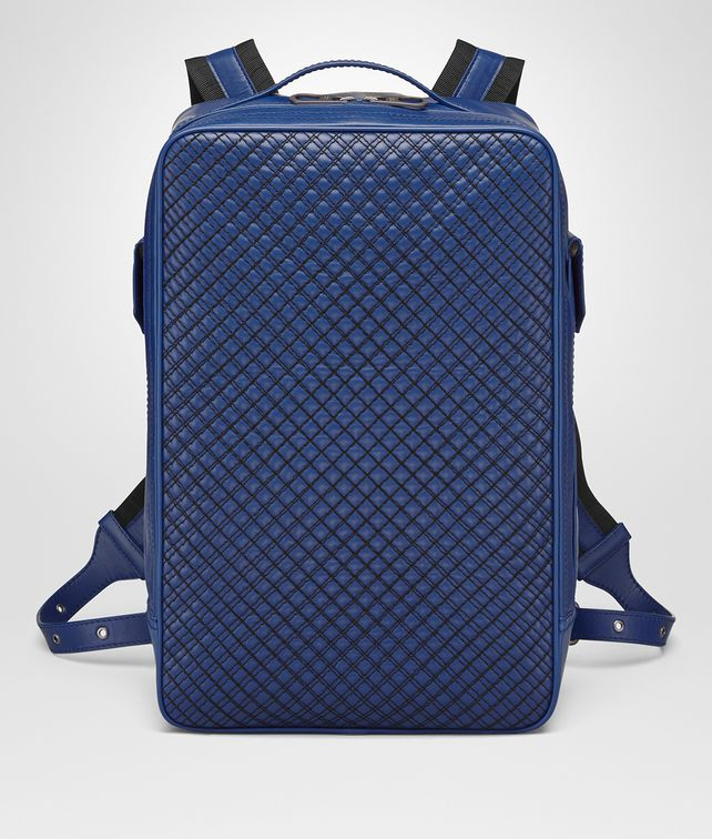 BOTTEGA VENETA COBALT BLUE CALF GRID BRICK BACKPACK Messenger Bag [*** pickupInStoreShippingNotGuaranteed_info ***] fp