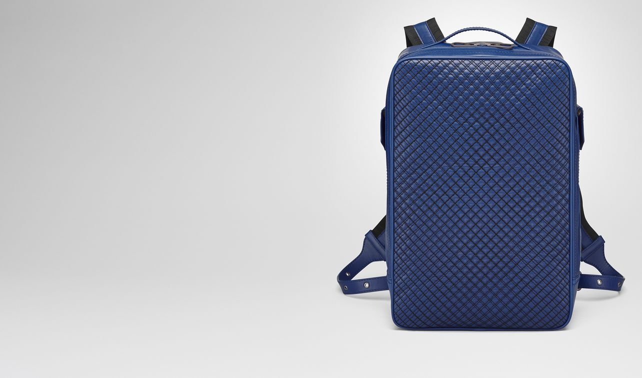 cobalt blue calf grid brick backpack landing