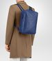 BOTTEGA VENETA COBALT BLUE CALF GRID BRICK BACKPACK Messenger Bag Man ap