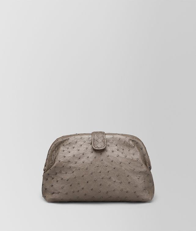 BOTTEGA VENETA CLUTCH THE LAUREN 1980 IN STRUZZO STEEL Pochette Donna fp
