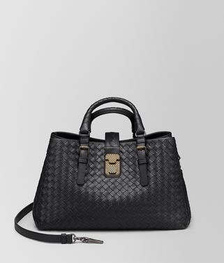 NERO INTRECCIATO CALF SMALL ROMA BAG