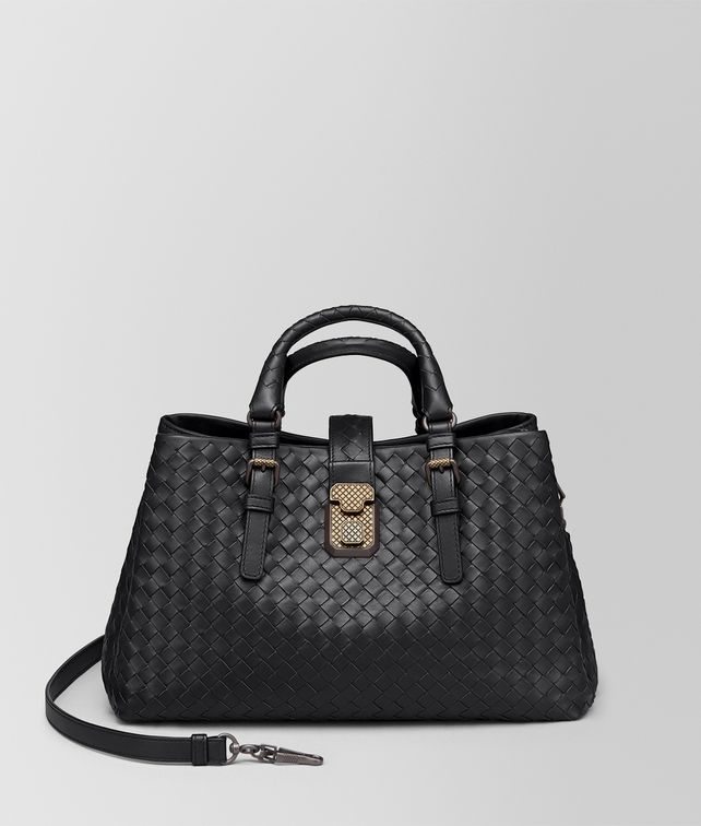 BOTTEGA VENETA NERO INTRECCIATO CALF SMALL ROMA BAG Top Handle Bag [*** pickupInStoreShipping_info ***] fp