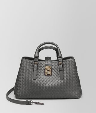 NEW LIGHT GREY INTRECCIATO CALF SMALL ROMA BAG
