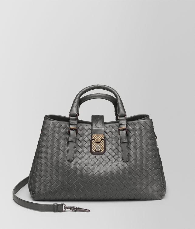 BOTTEGA VENETA NEW LIGHT GREY INTRECCIATO CALF SMALL ROMA BAG Top Handle Bag [*** pickupInStoreShipping_info ***] fp