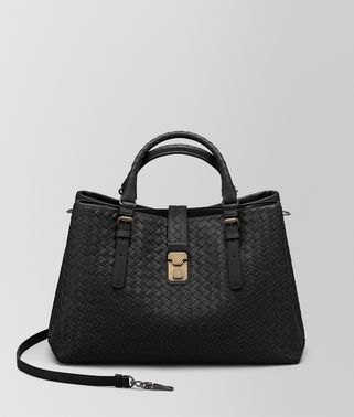 NERO INTRECCIATO CALF MEDIUM ROMA BAG