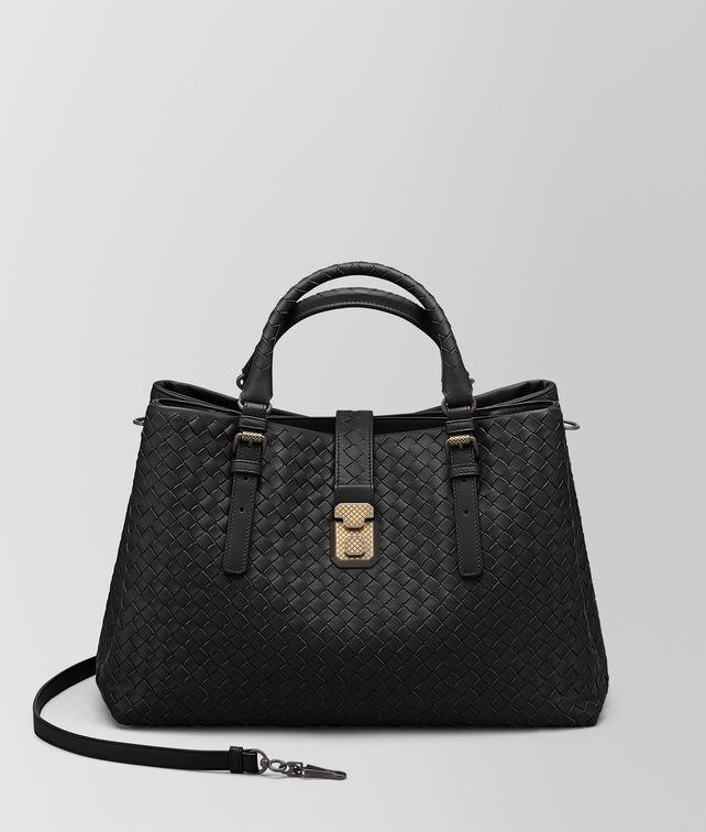 BOTTEGA VENETA NERO INTRECCIATO CALF MEDIUM ROMA BAG Top Handle Bag [*** pickupInStoreShipping_info ***] fp