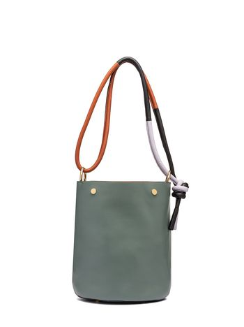 Marni BUCKET bag in leather green Woman