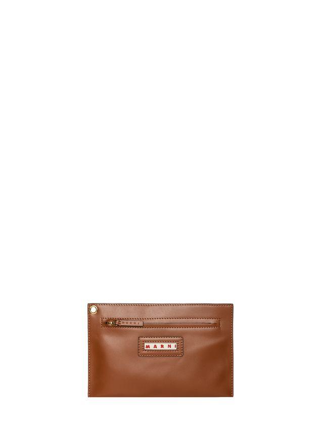 Marni BUCKET bag in brown calfskin Woman - 4