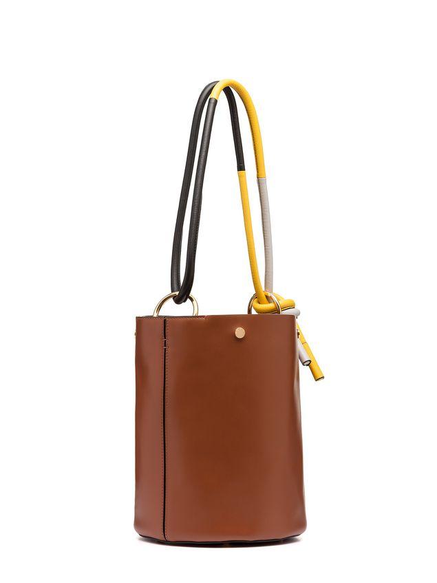 Marni BUCKET bag in brown calfskin Woman - 2