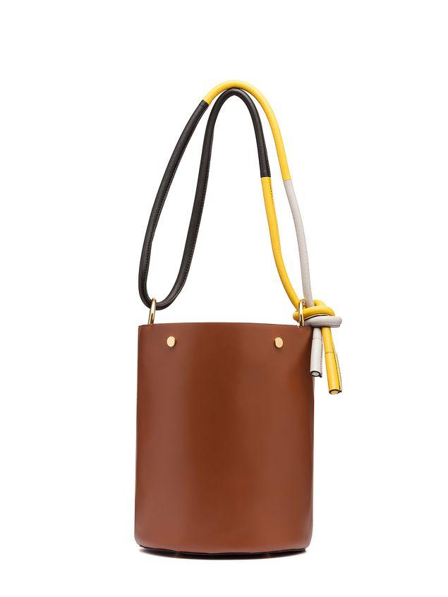 Marni BUCKET bag in brown calfskin Woman - 1