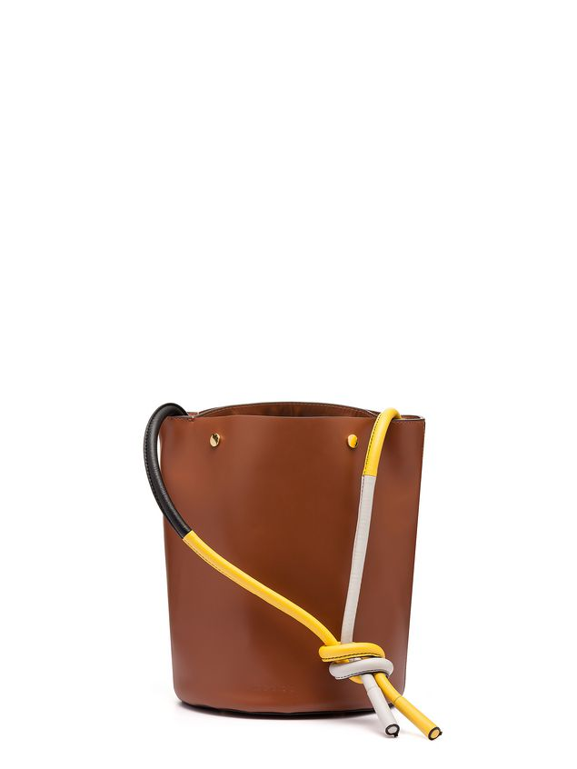Marni BUCKET bag in brown calfskin Woman - 3