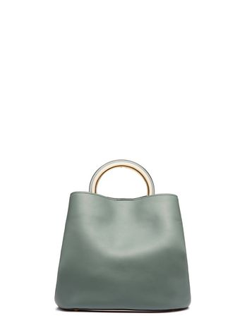 Pannier Bag In Green And White Calfskin