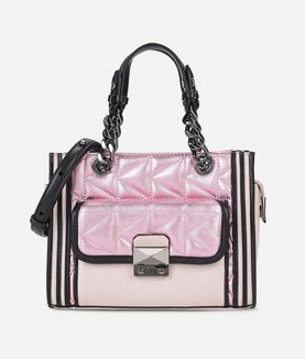KARL LAGERFELD K/KUILTED MINI-TOTE BAG ROSA