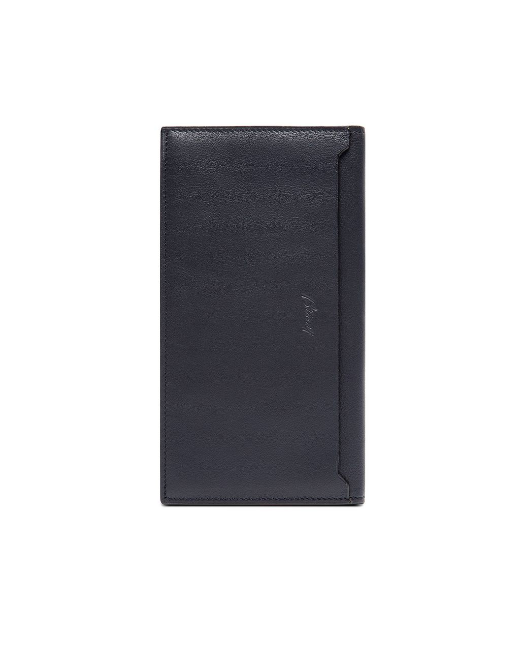 BRIONI Blue and Black Continental Wallet in Smooth Calfskin Leather Goods Man r