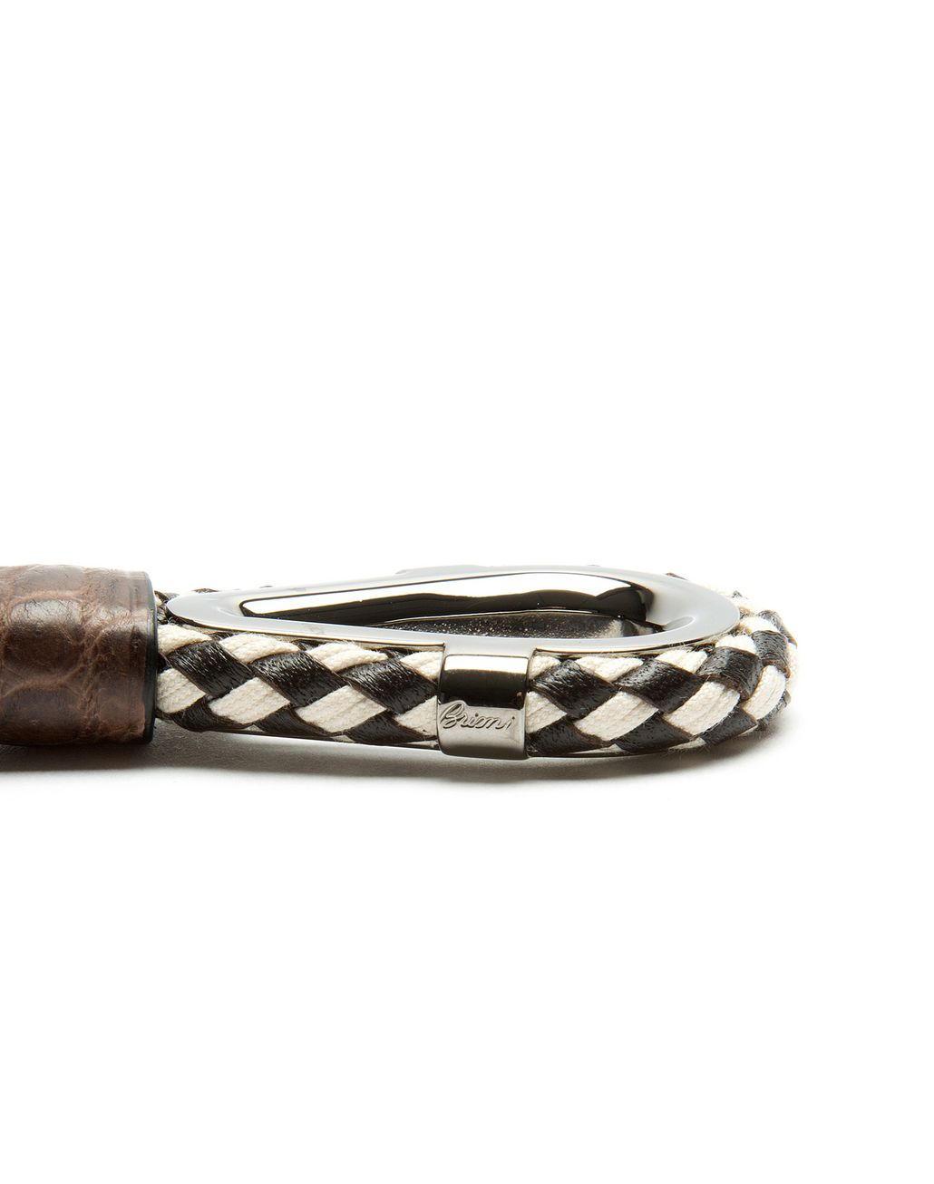 BRIONI Coffee Brown Key Ring with Alligator Details Leather Goods U r