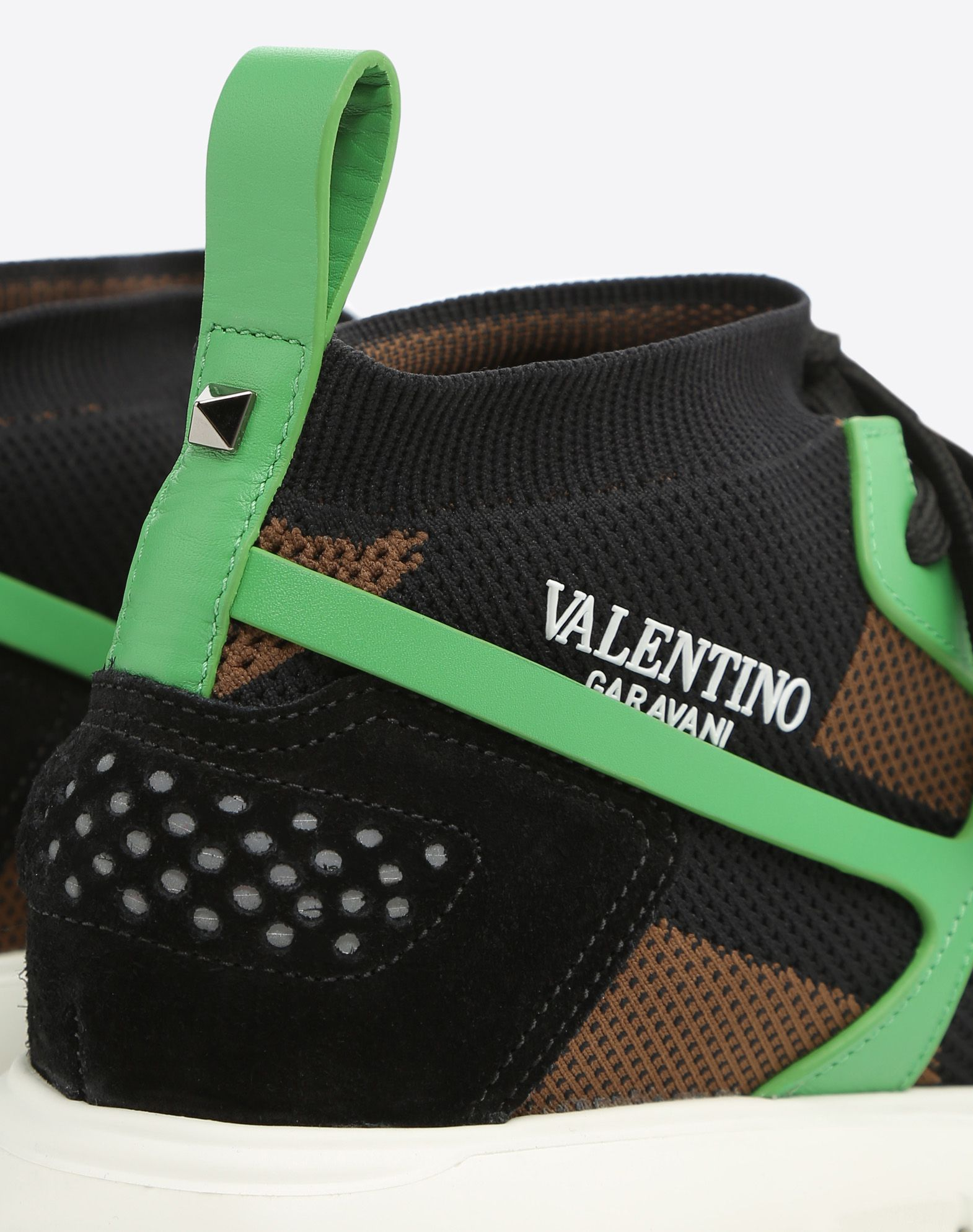 VALENTINO Lightweight sweater Suede effect Round toeline Fabric inner Laces Rubber cleated sole Logo  45385214jv
