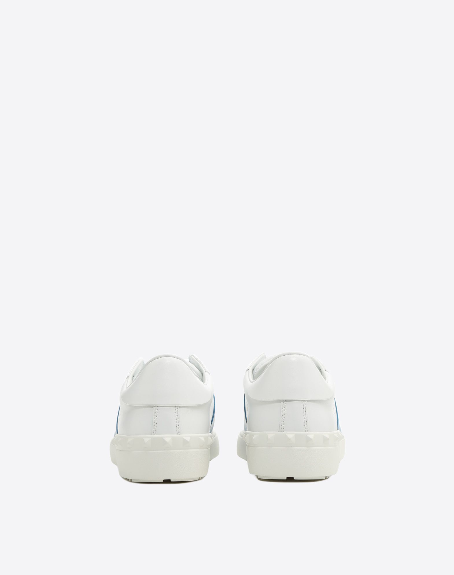 VALENTINO Leather Two-tone Logo Round toeline Leather lining Laces Flat Rubber cleated sole Studs  45385215ib