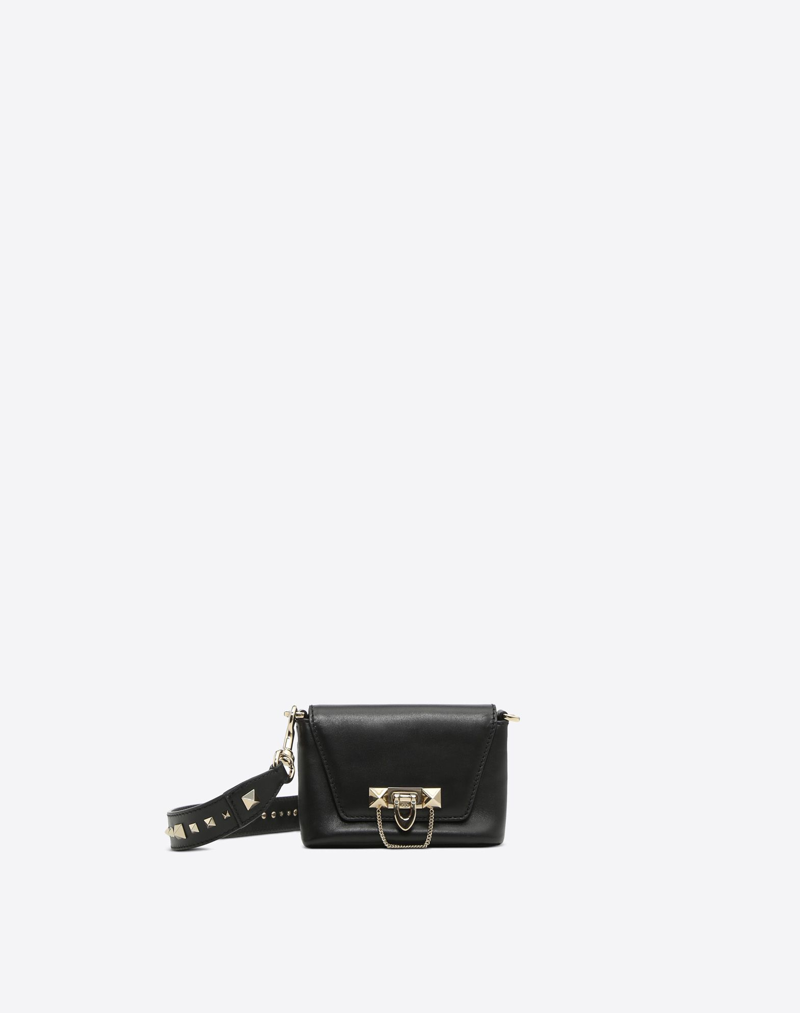 VALENTINO Studs Logo Solid color Framed closure Internal pocket Removable shoulder strap  45386529jm