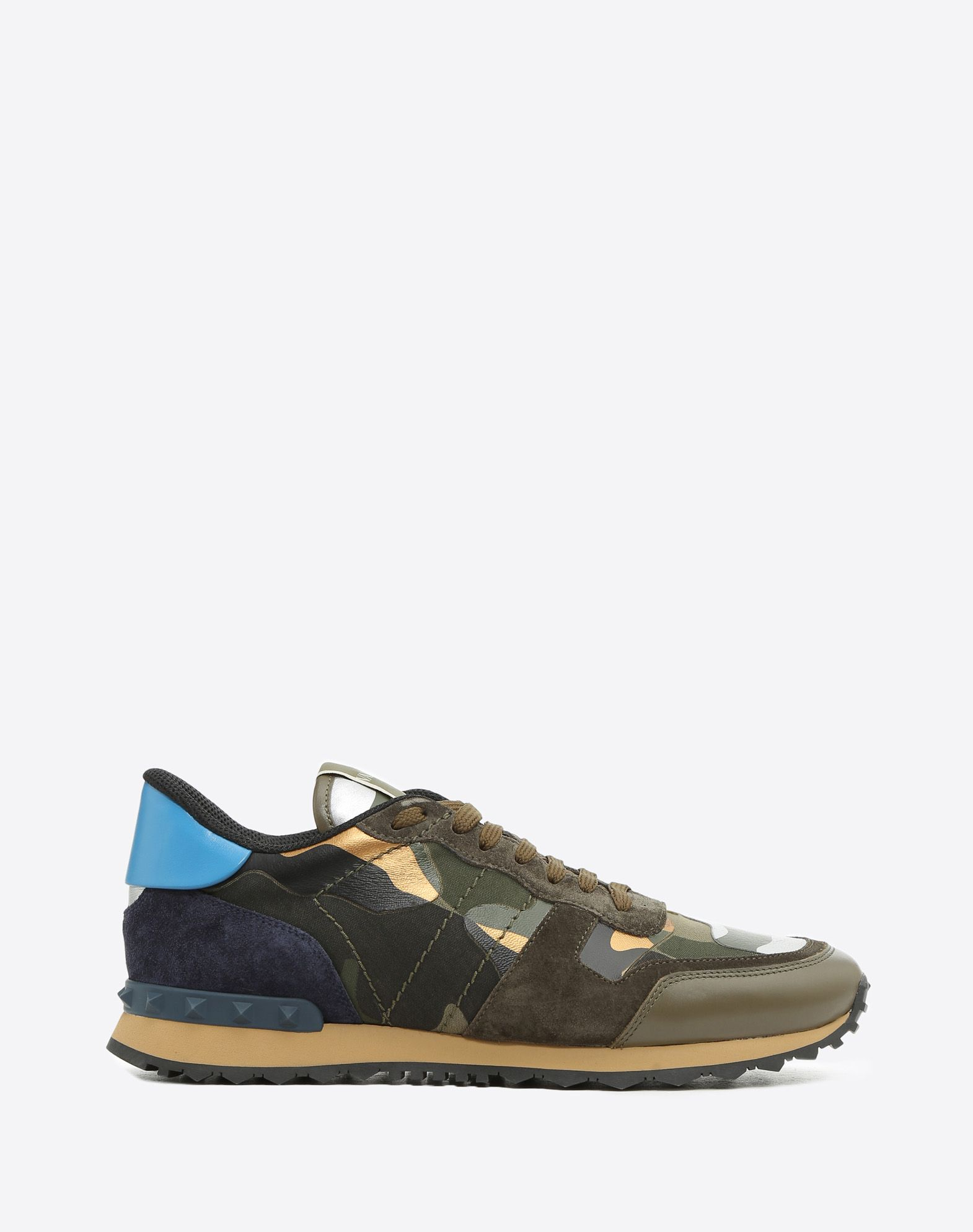 Valentino Rockrunner Sneakers Blue Burgundy Leather and Suede