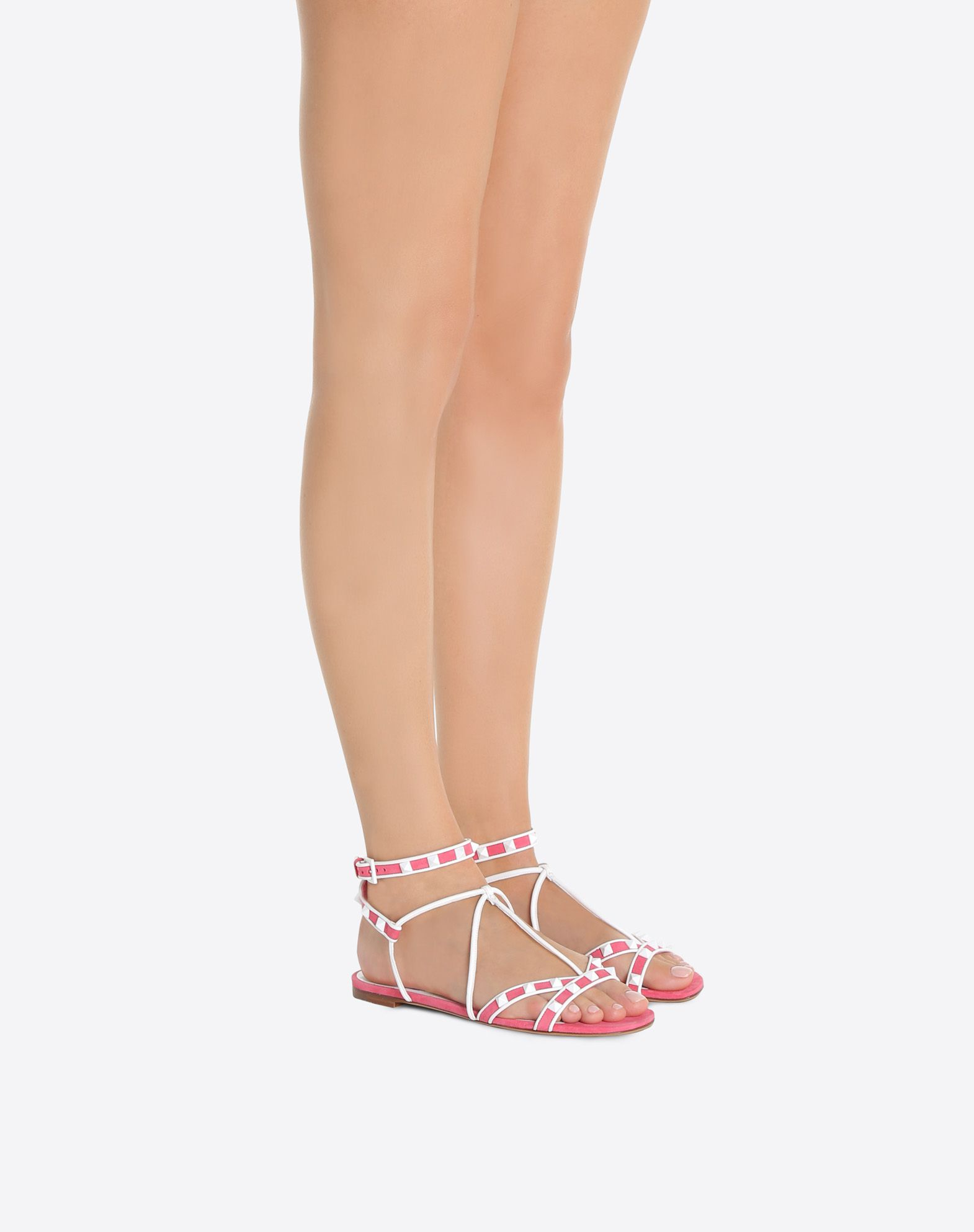 Chaussures plates en daim à bride en T RockstudValentino WVuvPd