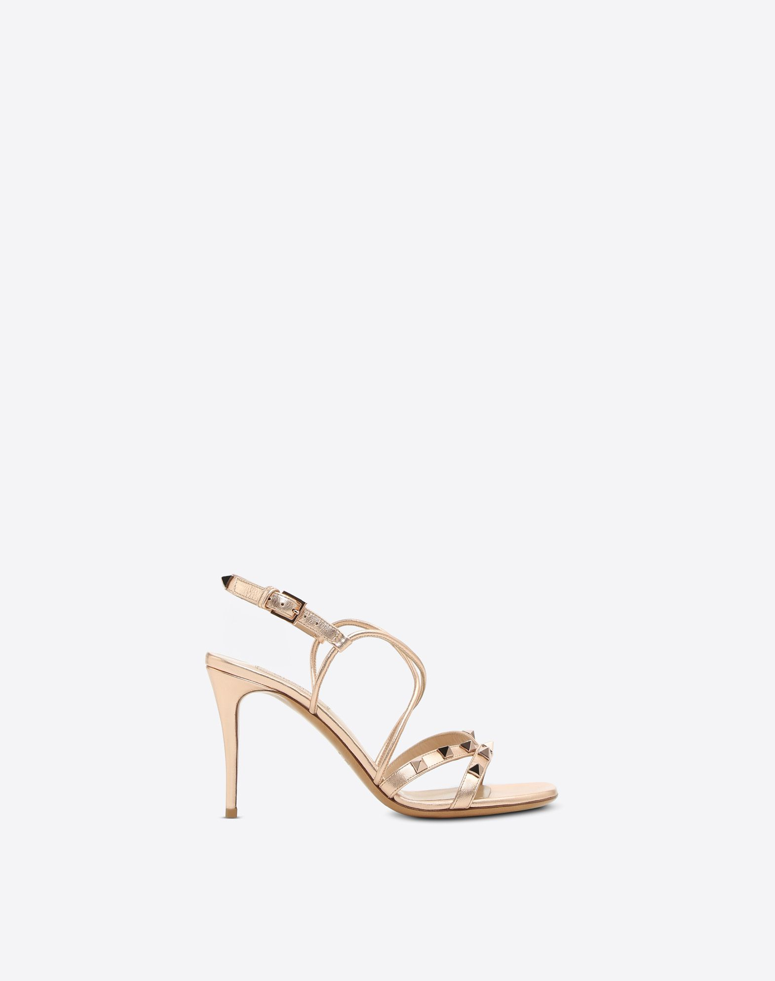 VALENTINO Studded Laminated effect Leather lining Solid color Leather sole Buckle Spike heel  45387852if