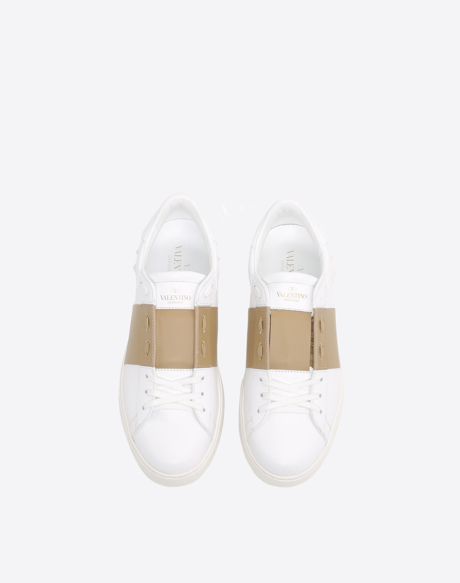 VALENTINO Two-tone Round toeline Leather lining Laces Flat Rubber cleated sole Logo  45387860kk
