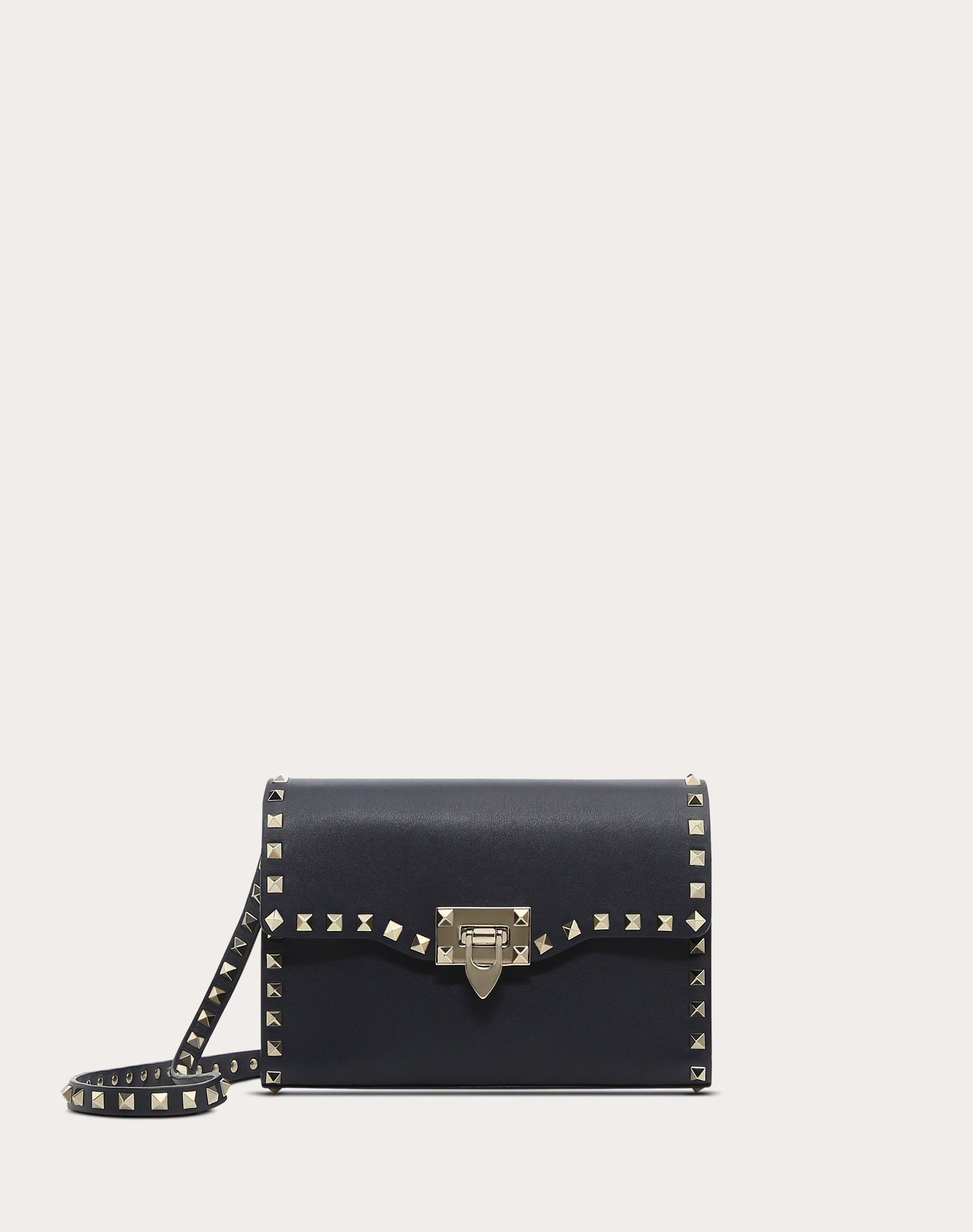 VALENTINO Studded Logo Solid color Framed closure Internal pocket Adjustable shoulder straps  45387861do