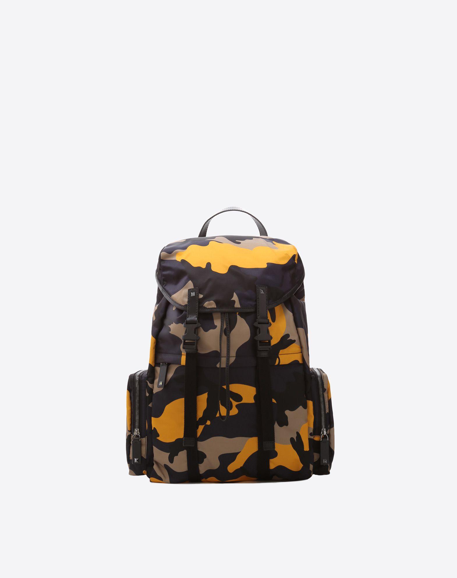 VALENTINO Techno fabric Logo Camouflage Dual buckle closure External pockets Internal pockets Rucksacks & Bumbags  45387866bo