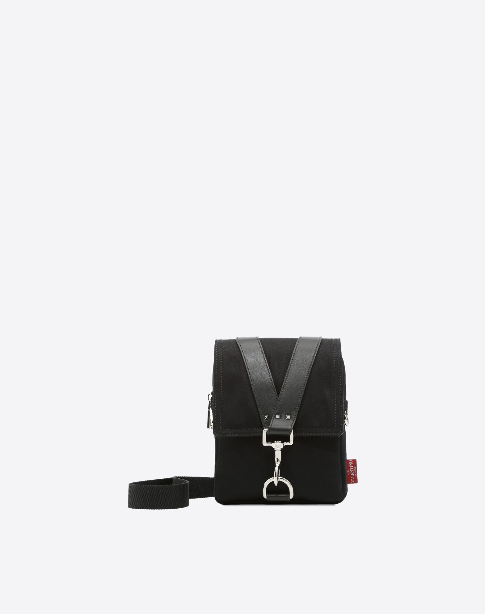 VALENTINO Gabardine Logo Solid color Clasp closure Internal pockets Adjustable shoulder straps Messenger bags  45387867ws