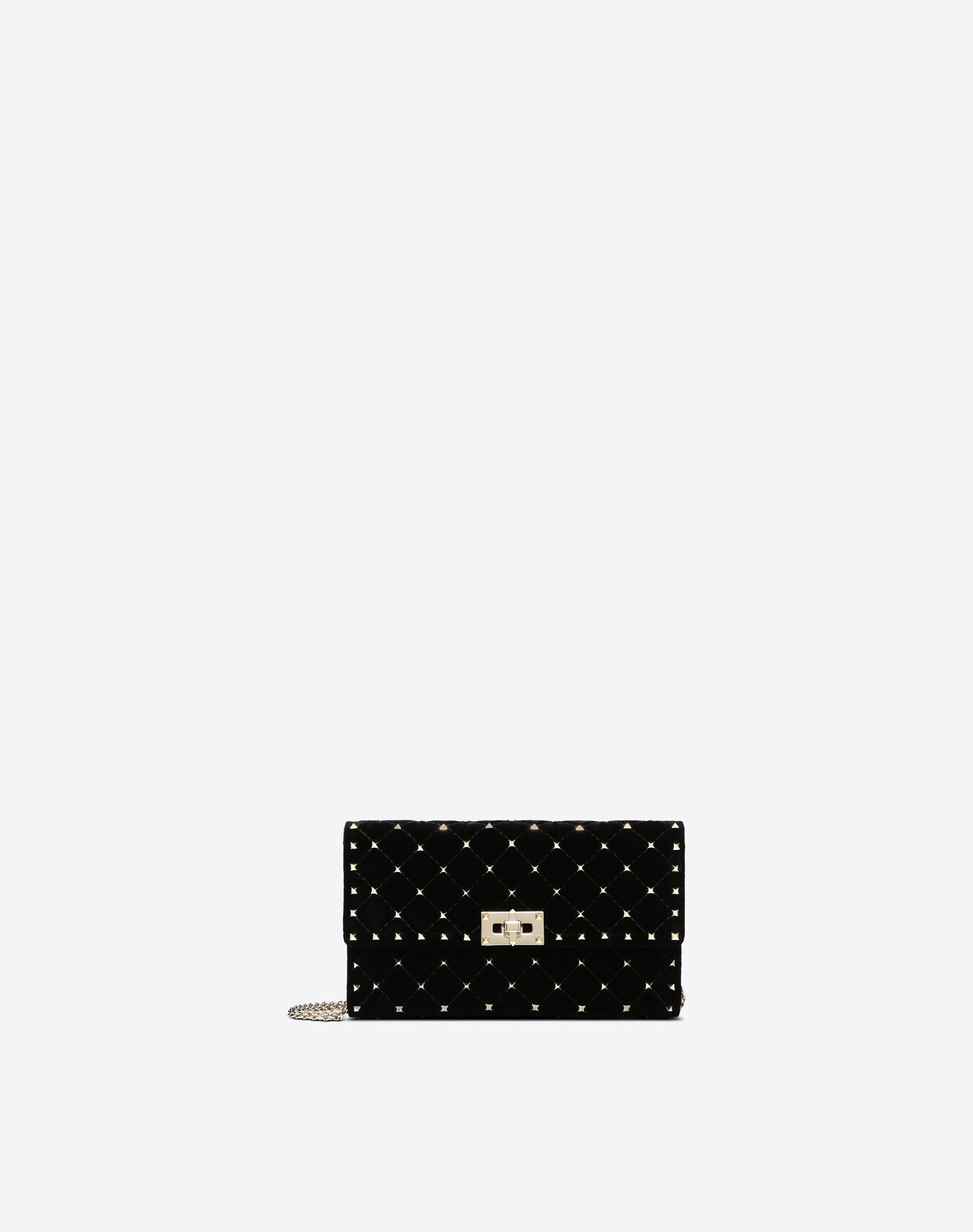 VALENTINO Velvet Studs Solid colour Framed closure Internal card slots Metallic straps  45387896mc
