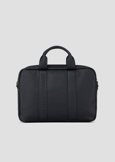 Faux Leather Briefcase With Logo