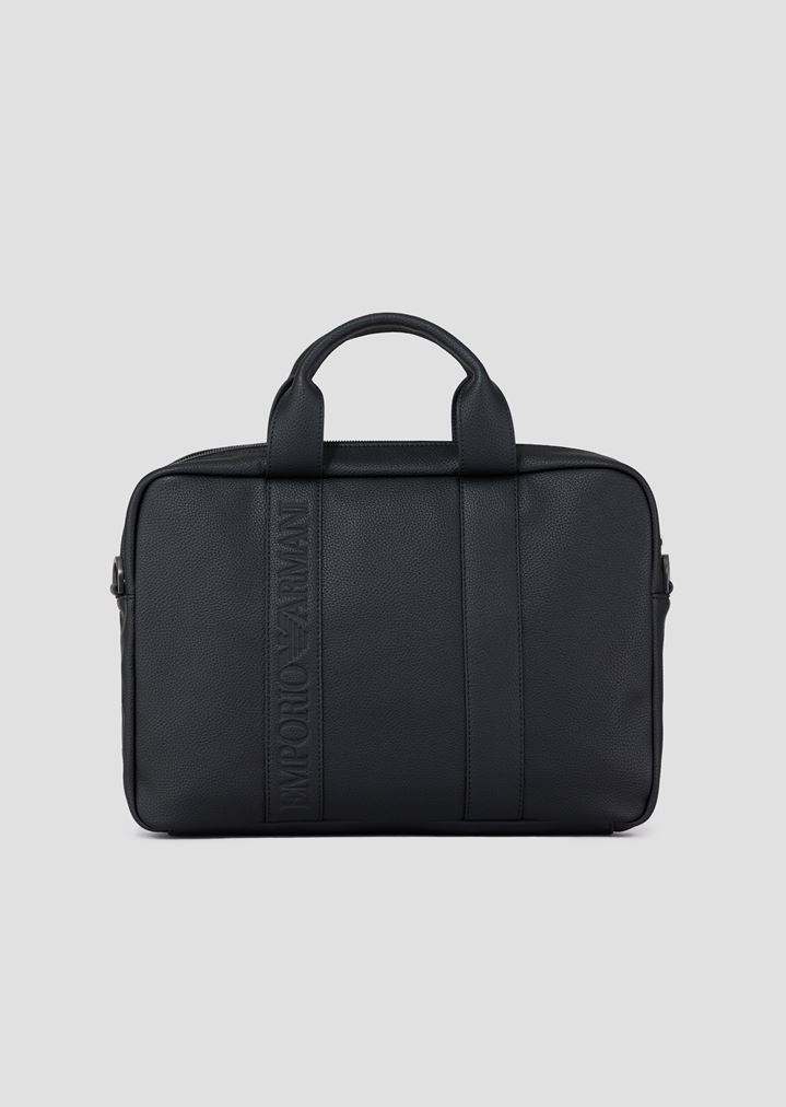 c6282fd9a4 Faux Leather Briefcase With Logo | Man | Emporio Armani