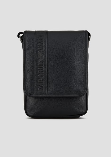 25a347346ed47 Crossbody messenger bag in grained faux leather. EUR 160. CROSSBODY BAG  WITH LOGO