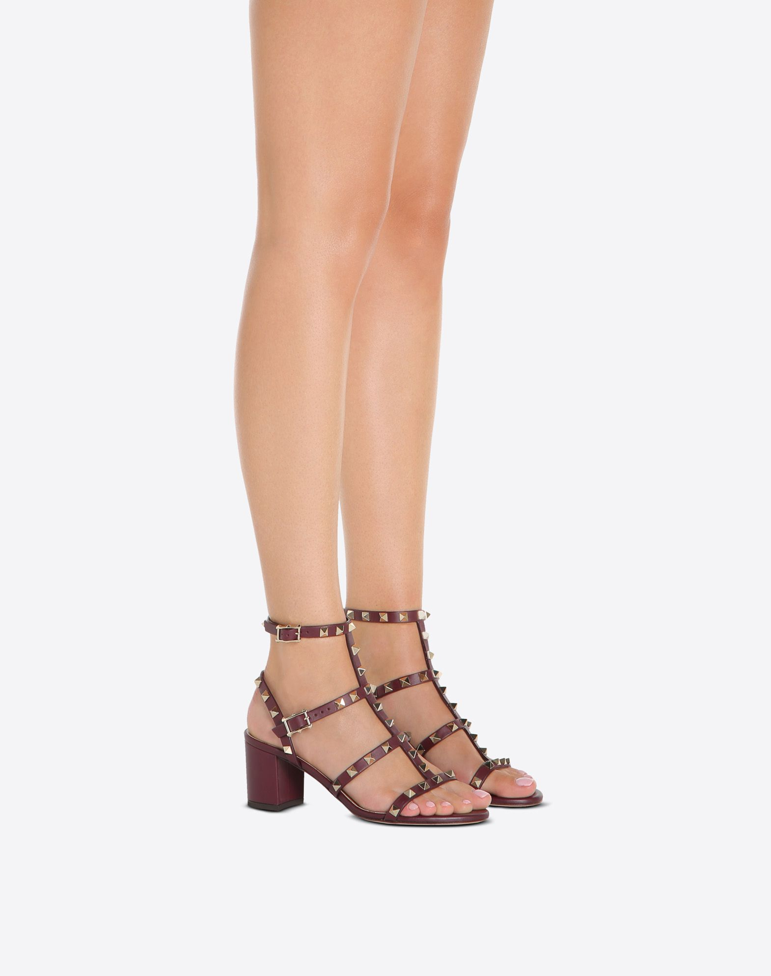 VALENTINO Studded Round toeline Solid colour Leather sole Buckle Square heel  45388163xl