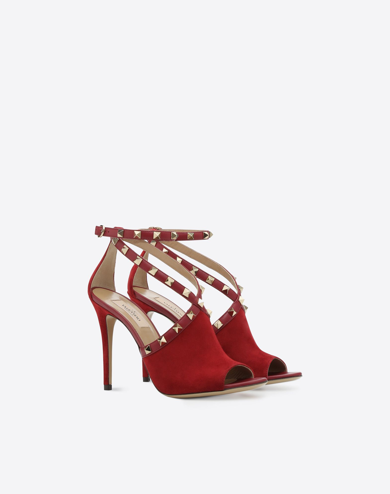 VALENTINO Suede effect Round toeline Solid colour Leather sole Buckling ankle strap closure Spike heel  45388164ev
