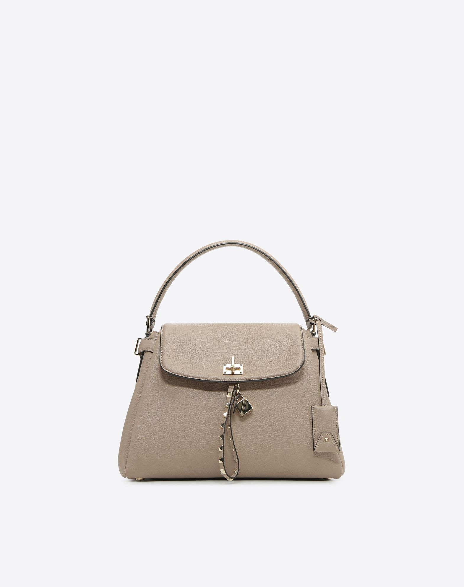 VALENTINO Textured leather Logo Framed closure Internal pockets Removable shoulder strap Bottom with studs  45388445mh