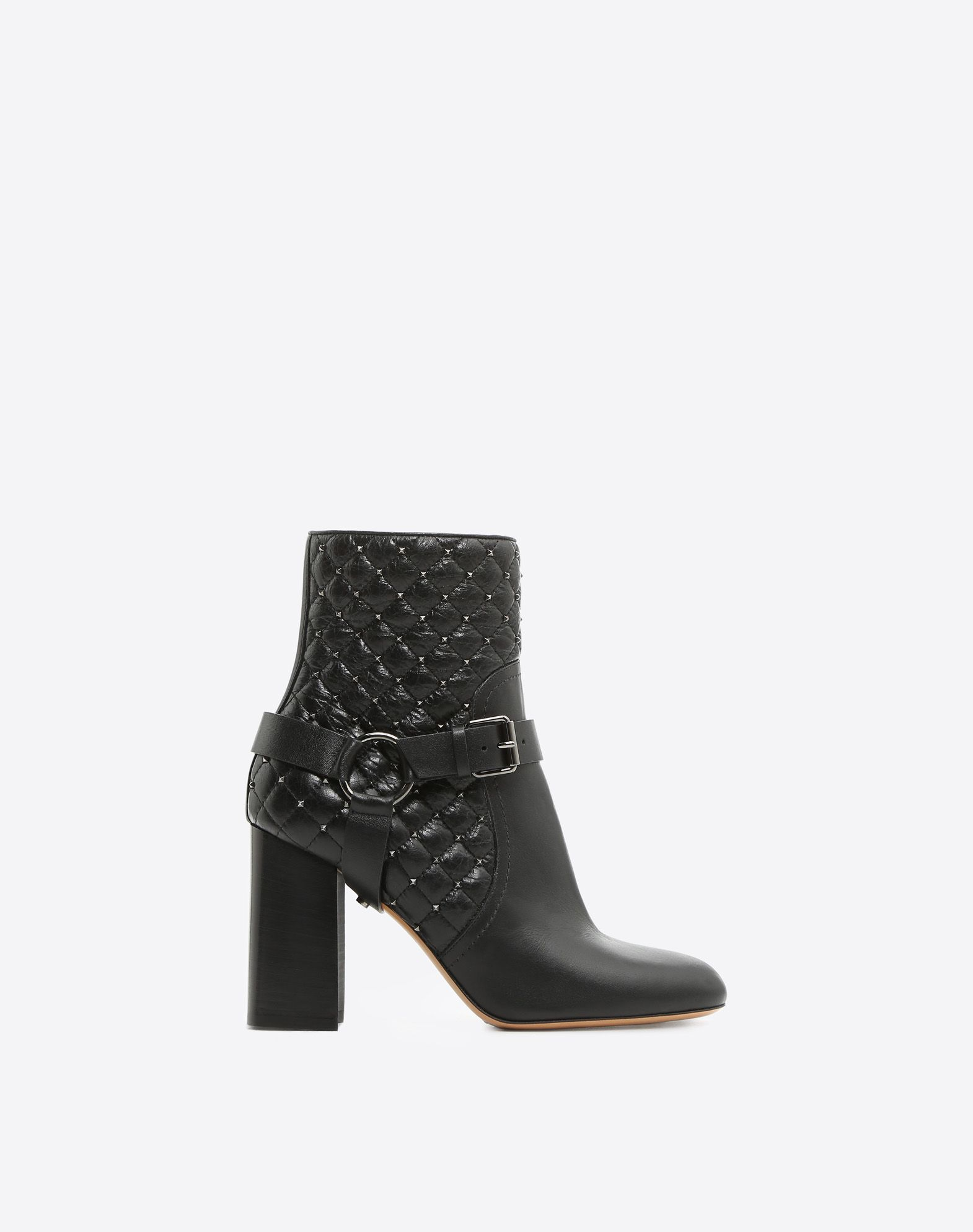VALENTINO Round toeline Studs Inner zip closure Buckle Quilted Leather sole Geometric heel  45388454dv