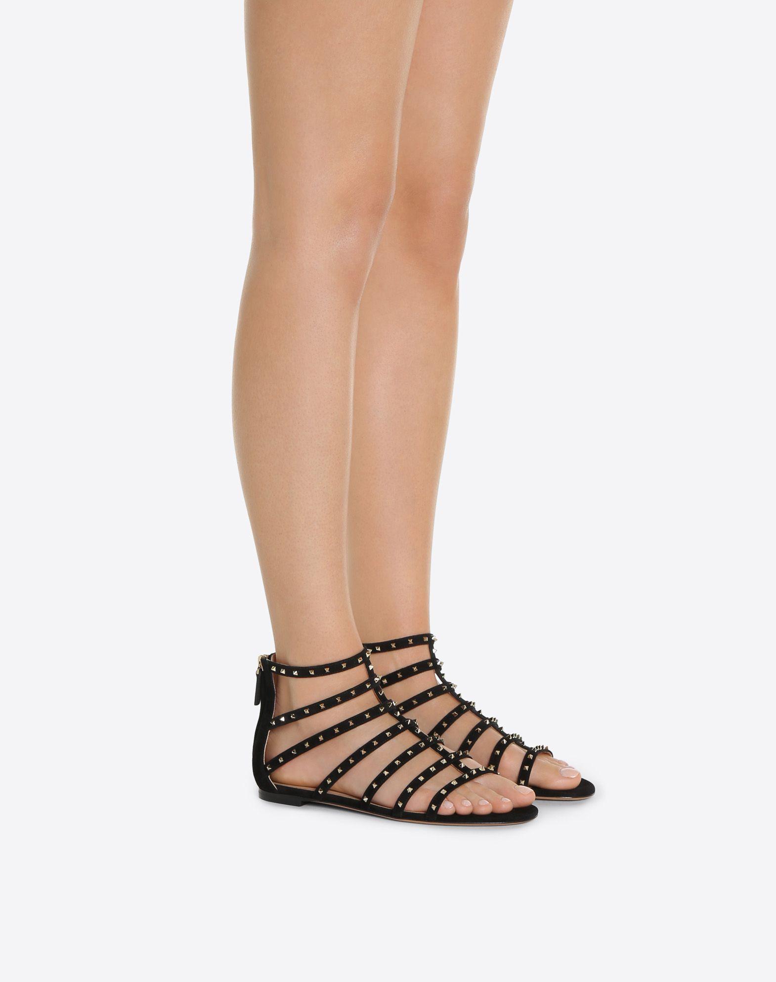 Valentino Lovestud Suede Sandal Grey outlet store online WLgKLFH1A