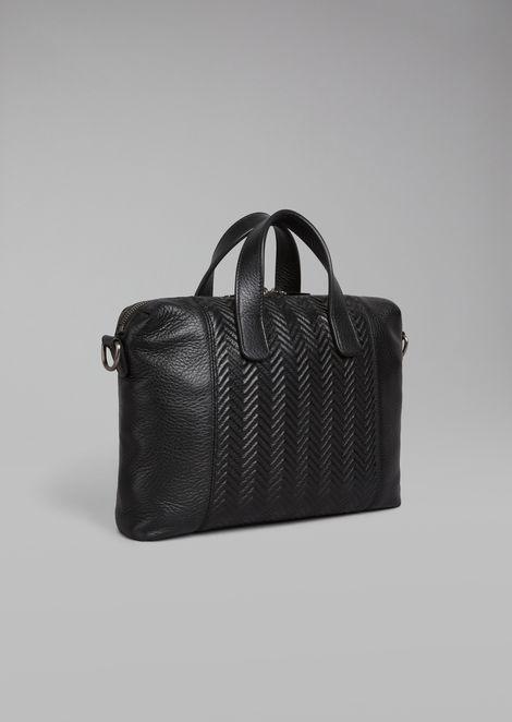 Deerskin briefcase with chevron pattern