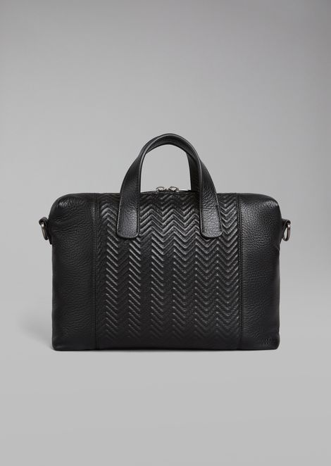 Deerskin briefcase with chevron pattern