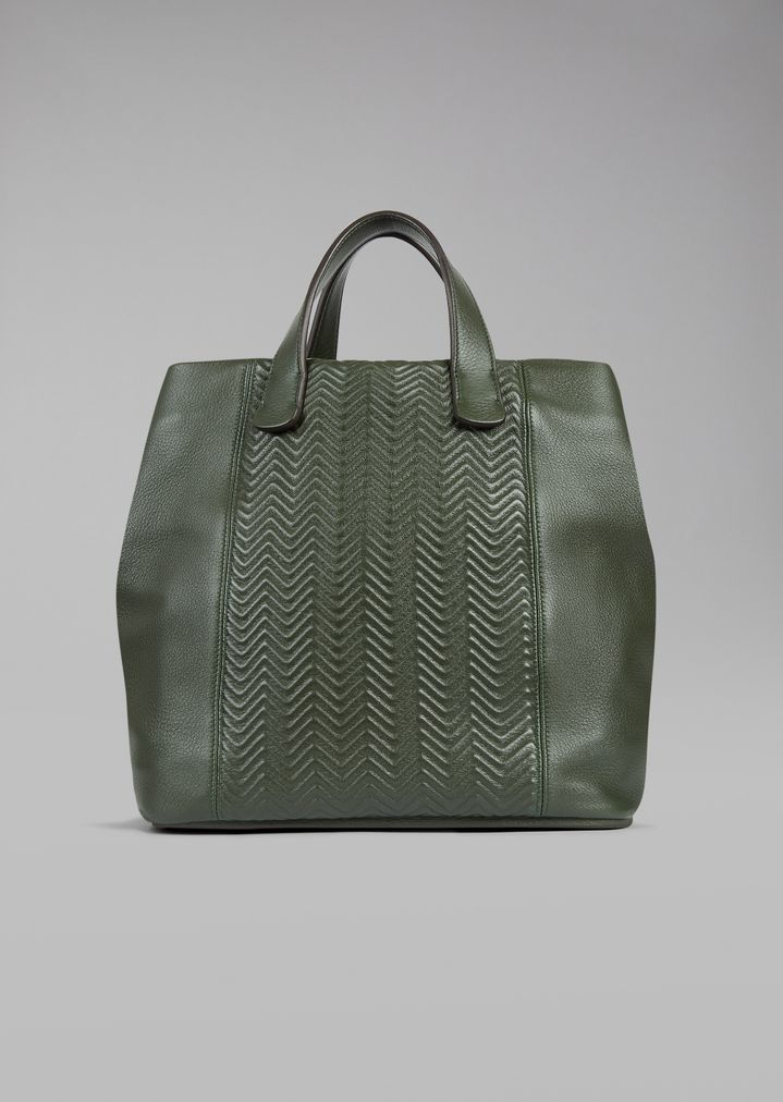 f2e04a09469b Tote bag in chevron leather