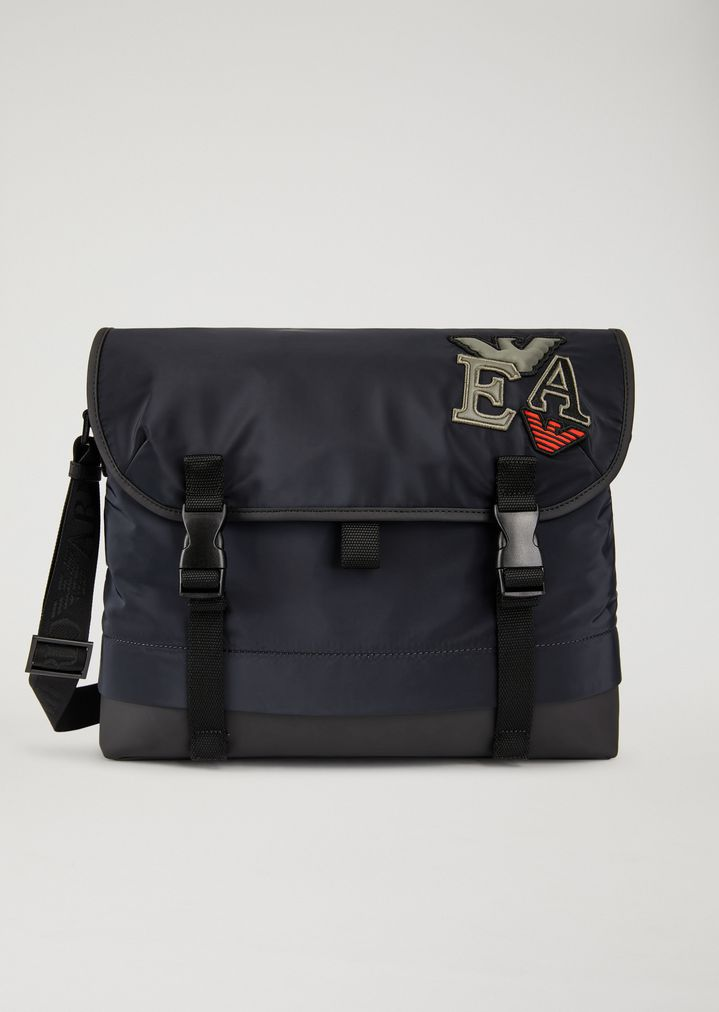 85411a62855f TECHNICAL FABRIC MESSENGER BAG WITH PATCHES   Man   Emporio Armani