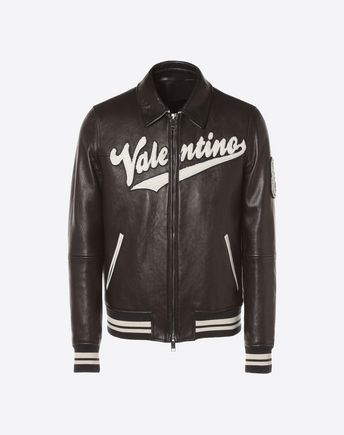 VALENTINO UOMO JACKET U Valentino logo leather biker jacket f